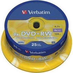 фото Verbatim DVD+RW 4,7GB 4x Spindle Packaging 25шт (43489)