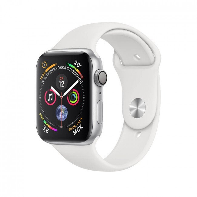 Apple Watch Series 4 (GPS) 44mm Silver Aluminum w. White Sport Band MU6A2