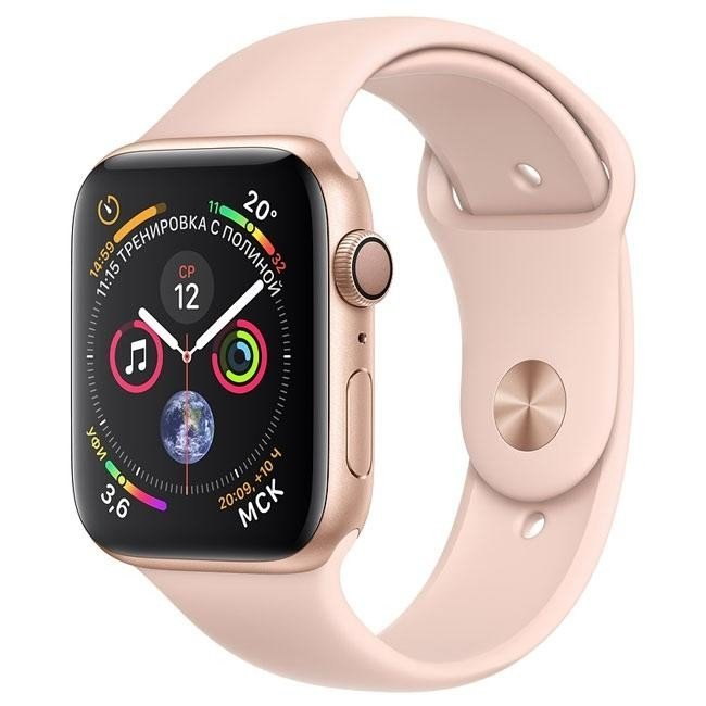 Apple Watch Series 4 (GPS) 44mm Gold Aluminum w. Pink Sand Sport Band MU6F2