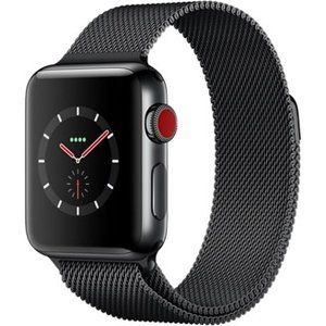 фото Apple Watch Series 3 GPS + Cellular 38mm Space Black Stainless Steel w. Space Black Milanese L. (MR1H2)