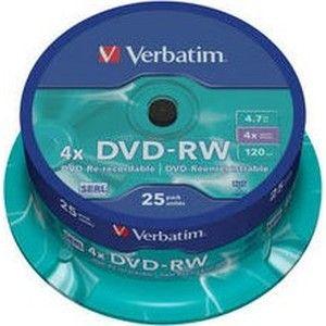 фото Verbatim DVD-RW 4,7GB 4x Spindle Packaging 25шт (43639)