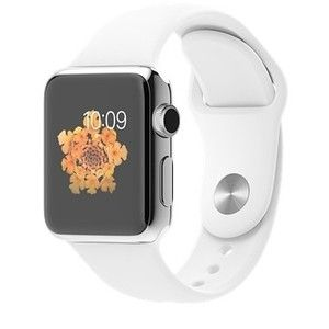 фото Apple 38mm Stainless Steel Case with White Sport Band (MJ302)