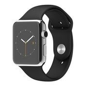 фото Apple 42mm Stainless Steel Case with Black Sport Band (MJ3U2)
