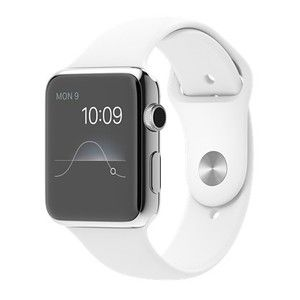 фото Apple 42mm Stainless Steel Case with White Sport Band (MJ3V2)