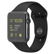 фото Apple 42mm Space Gray Aluminum Case with Black Sport Band (MJ3T2)