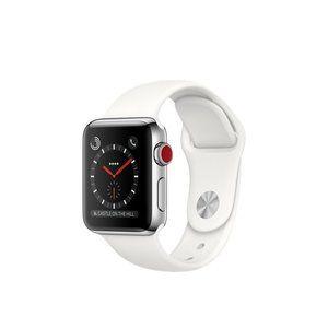 фото Apple Watch Series 3 GPS + Cellular 38mm Stainless Steel w. Soft White Sport B. (MQJV2)