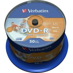 фото Verbatim DVD-R Printable 4,7GB 16x Spindle Packaging 50шт (43533)