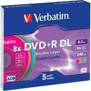 фото Verbatim DVD+R DL 8,5GB 8x Slim Case 5шт (43682)
