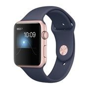 фото Apple Watch Series 1 42mm Rose Gold Aluminum Case with Midnight Blue Sport Band (MNNM2)