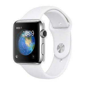 фото Apple Watch Series 2 42mm Silver Aluminum Case with White Sport Band (MNPJ2)