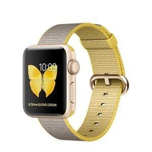 фото Apple Watch Series 2 38mm Gold Aluminum Case with Yellow/Light Gray Woven Nylon Band (MNP32)