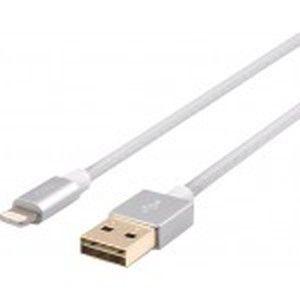 фото JCPAL Lightning - Dual USB, 28 AWG, 1.5 m, Nylon, Silver (JCP6108)