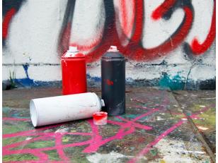 Аэрозольные краски для рекламы на асфальте