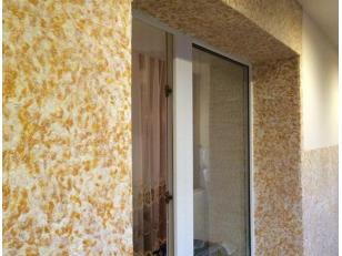 Отделка балкона жидкими обоями
