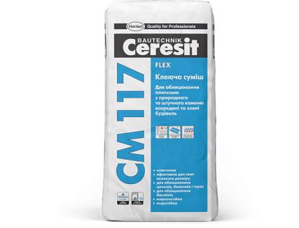 Эластичная клеящая смесь для натурального камня Flex Ceresit CM 117 - изображение 2 - интернет-магазин tricolor.com.ua