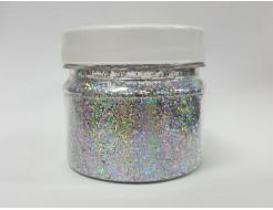 Глиттер голографический GGS/0,6 мм (1/40) серебряный Tricolor - интернет-магазин tricolor.com.ua