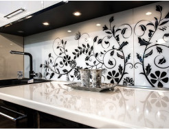 Кухонный фартук из супер чистого стекла с покраской в 2 цвета - интернет-магазин tricolor.com.ua