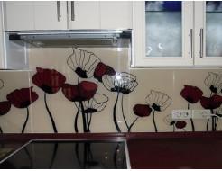 Кухонный фартук из стекла с вырезом,покраска в 3 цвета