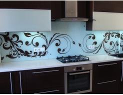 Кухонный фартук из супер чистого стекла с вырезом,покраска в 2 цвета