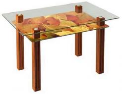Купить Стеклянный обеденный стол SW6 1200*700 верх:прозрачный низ:покраска