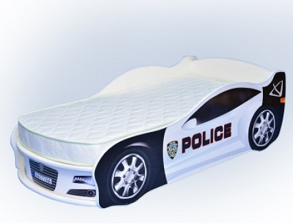 Кровать машина Jaguar полиция белая 70х150 ДСП