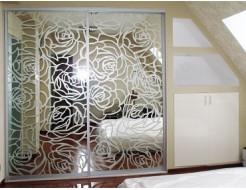 Купить Двери для шкафа купе зеркало с рисунком сатин