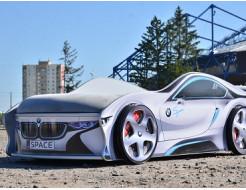 Кровать машина BMW space серая 80х180 с подъемным механизмом