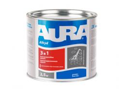 Эмаль антикоррозионная Aura 3 в 1 коричневая