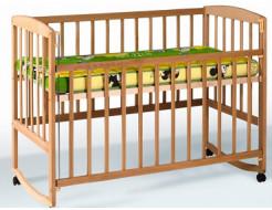 Купить Кроватка с откидной боковиной, дугами и колесами 1200x600
