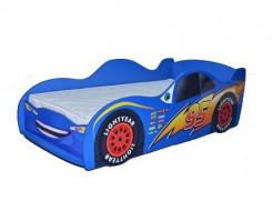 Кровать машина Молния Маквин синяя 80х170 ДСП