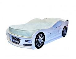 Кровать машина Jaguar белая 70х150 ДСП с подъемным механизмом