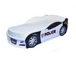 Кровать машина Jaguar полиция белая 70х150 ДСП с подъемным механизмом