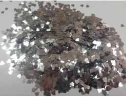 Купить Глиттер Сердечки серебряный Tricolor 3 мм