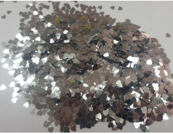 Глиттер Сердечки серебряный Tricolor 3 мм