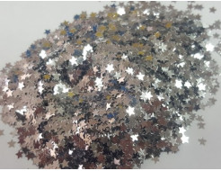 Глиттер Звездочки серебряный Tricolor 3 мм
