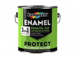 Эмаль антикорозионная Kompozit 3 в 1 Protect коричневая - интернет-магазин tricolor.com.ua