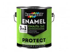 Эмаль антикорозионная Kompozit 3 в 1 Protect красно-коричневая - интернет-магазин tricolor.com.ua