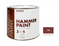 Антикоррозионная молотковая краска-грунт для металла Biodur 3 в 1, 118 Оксидно-красная - интернет-магазин tricolor.com.ua