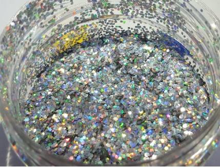 Купить Глиттер голографический GGS/1,0 мм (1/24) серебряный Tricolor - 2