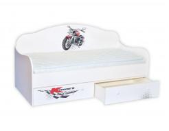 Кроватка диванчик Гонщик мотоциклист 80х160 ДСП