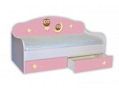 Кроватка диванчик Сова на розовом 80х160 ДСП