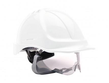 Каска защитная Portwest PW55 с прозрачным щитком, белая, с храповиком и вентиляцией