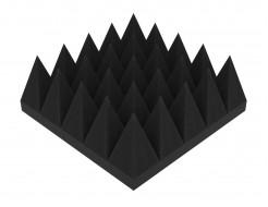 Акустическая панель Пирамида 100 мм 25х25 см средняя черный графит - интернет-магазин tricolor.com.ua