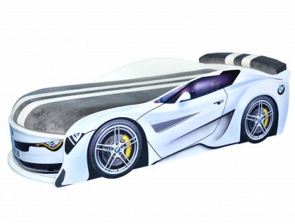 Кровать машина BMW Turbo белая 70х150 ДСП без подъемного механизма матрас Спорт темно-серый