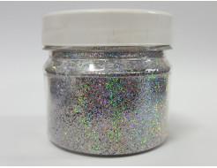Глиттер голографический GGS/0,4 мм (1/64) серебряный Tricolor