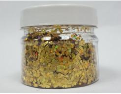 Купить Глиттер голографический ромб LA-200/2*2 мм золотой Tricolor - 1