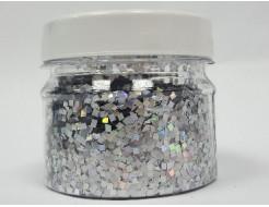 Купить Глиттер голографический ромб LA-100/2*2 мм серебряный Tricolor - 1