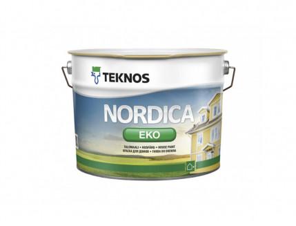 Водоразбавляемая акрилатная краска по дереву для наружных работ Teknos Nordica Eco глянцевая База1