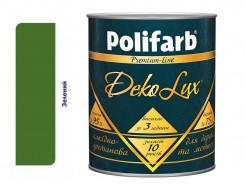 Алкидно-уретановая эмаль DekoLux для дерева и металла Polifarb глянцевая зеленая