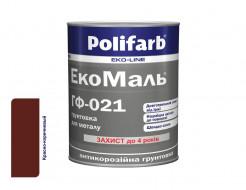 Антикоррозионная алкидная грунтовка для металла ЭкоМаль ГФ-021 Polifarb матовая красно-коричневая